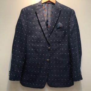 Youth navy linen blazer with dot pattern